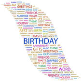 BIRTHDAY. Word collage on white background — Stock Vector