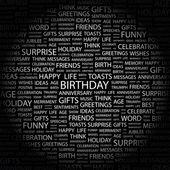 Födelsedag. ordet collage på svart bakgrund — Stockvektor