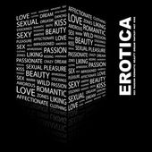 EROTICA. Word collage on black background — Stock Vector