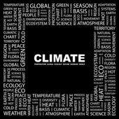 Klima. wort-collage auf schwarzem hintergrund — Stockvektor