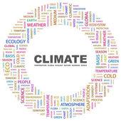 Clima. parola collage su sfondo bianco — Vettoriale Stock