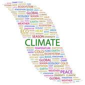 Clima. palabra collage sobre fondo blanco — Vector de stock