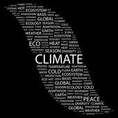 Klimatu. słowo kolaż na czarnym tle — Wektor stockowy