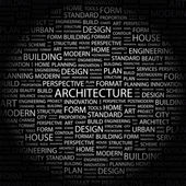 ARCHITECTURE. Word collage on black background — Stock Vector