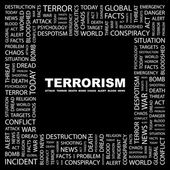 TERRORISM. Word collage on black background — Stock Vector