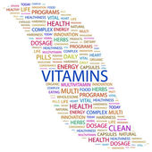 VITAMINS. Word collage on white background — Stock Vector