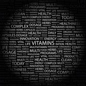 VITAMINS. Word collage on black background — Stock Vector