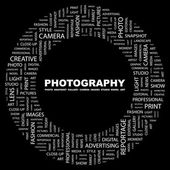 PHOTOGRAPHY. Word collage on black background — Stock Vector