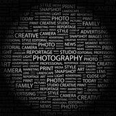 PHOTOGRAPHY. Word collage on black background — Vetor de Stock