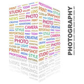 PHOTOGRAPHY. Word collage on white background — Stock Vector