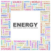 ENERGY. Word collage on white background — Stock Vector