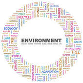 ENVIRONMENT. Word collage on white background — Stock Vector