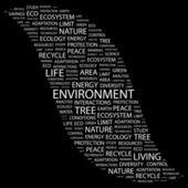 окружающей среды. слово коллаж на черном фоне — Cтоковый вектор