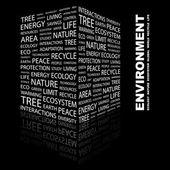 Umgebung. wort-collage auf schwarzem hintergrund — Stockvektor