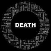 DEATH. Word collage on black background — Stock Vector
