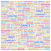 DANCE. Word collage on white background. — Stock Vector