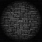 DANCE. Word collage on black background — Stock Vector