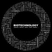BIOTECHNOLOGY. Word collage on black background — Stock Vector