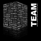 TEAM. Word collage on black background — Stock Vector