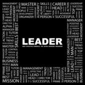 LEADER. Word collage on black background — Stock Vector