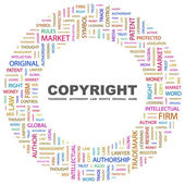 COPYRIGHT. Word collage on white background — Stock Vector