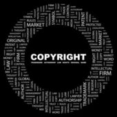 COPYRIGHT. Word collage on black background — Stock Vector