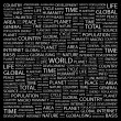 WORLD. Word collage on black background - Stock Vector