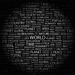 WORLD. Word collage on black background — Vettoriali Stock