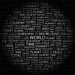 WORLD. Word collage on black background — Stock Vector