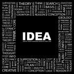 IDEA. Word collage on black — Stock Vector