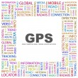 GPS. Word collage on white — Stock Vector