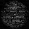 GPS. Word collage on black — Stock Vector