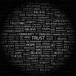 TRUST. Word collage on black — Stock Vector