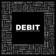 DEBIT. Word collage on black background. — Vettoriale Stock