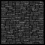 DEBIT. Word collage on black background. — Stock Vector