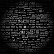 DEBIT. Word collage on black background. — 图库矢量图片