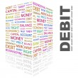 DEBIT. Word collage on black background. — Stock vektor
