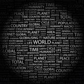 Världen. ordet collage på svart bakgrund — Stockvektor