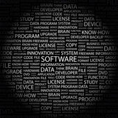SOFTWARE. Word collage on black background — Stock Vector