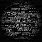 NUCLEAR. Word collage on black background — Stock Vector