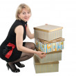 The woman with boxes — Stock Photo