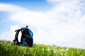Travel - backpack in nature, Environmental tourism concept with copyspace — Stock Photo