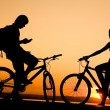Stock Photo: Two bicycler on sunset