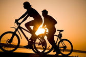 Sporty couple on bicycles — Stok fotoğraf