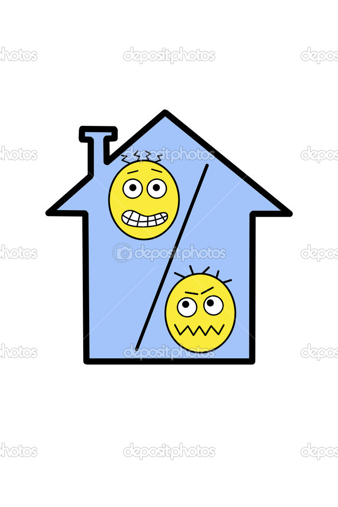 Illustrated house with a percent symbol on a white background.  Caricature. — Stock Photo #2840714