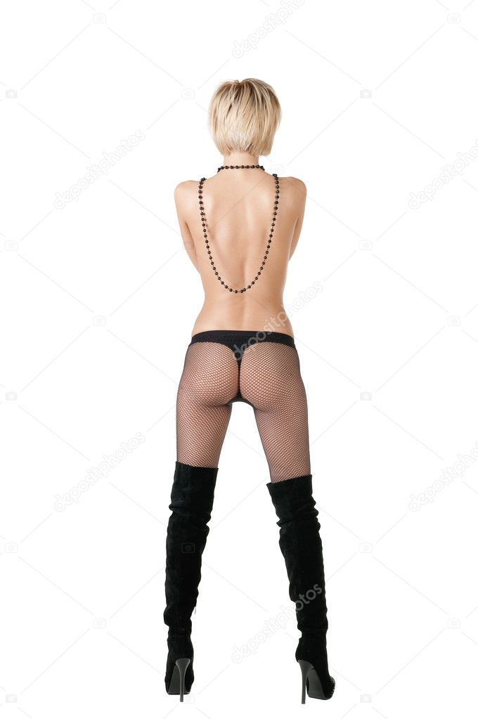 Rear view of nude blond woman in stockings . — Stock Photo #2768116