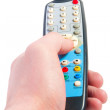 Stock Photo: Hand holding television remote.