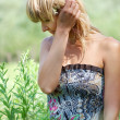 Beautiful blonde in sundress — Stock Photo