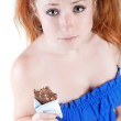 Lovely red-haired girl in  dark blue sundress. - Stock Photo