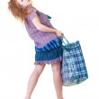 Stock Photo: Tired womwith shopping bag.